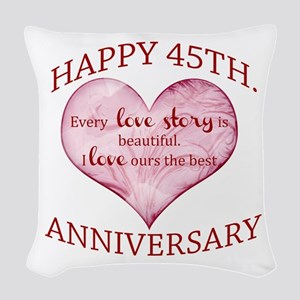 45th. Anniversary Woven Throw Pillow