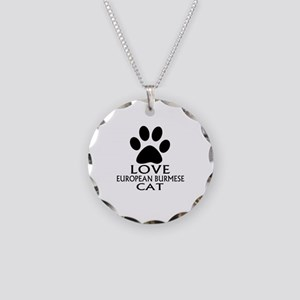 Love European Burmese Cat De Necklace Circle Charm
