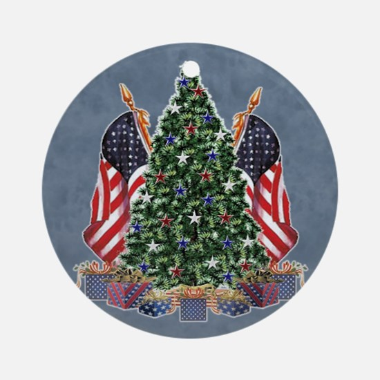 Patriotic Tree with Flags Ornament (Round)