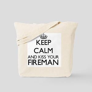 Keep calm and kiss your Fireman Tote Bag