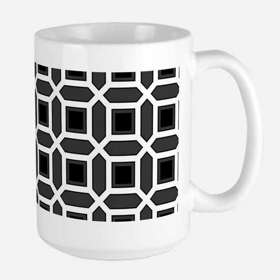 Black and White Mosaic Pattern Large Mug