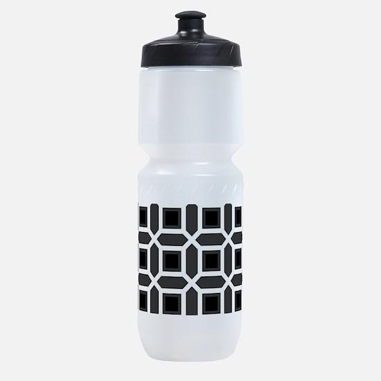 Black and White Mosaic Pattern Sports Bottle