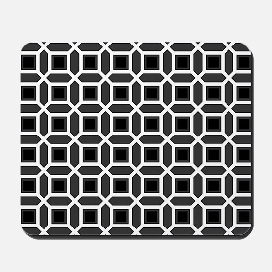 Black and White Mosaic Pattern Mousepad