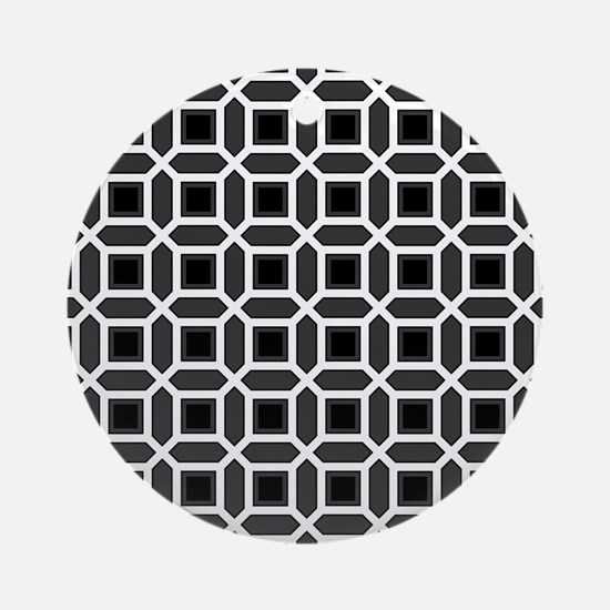 Black and White Mosaic Pattern Ornament (Round)