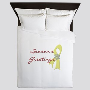 Season's Greetings Yellow Ribbon Queen Duvet