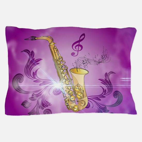 Saxophone with key notes Pillow Case