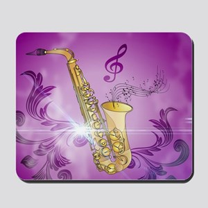 Saxophone with key notes Mousepad