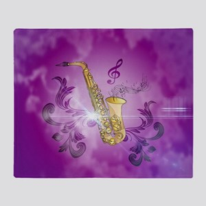 Saxophone with key notes Throw Blanket