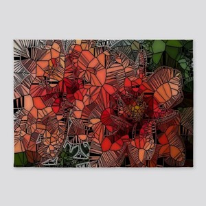 flowers such as stained glass 5'x7'Area Rug