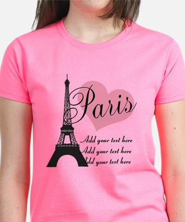 custom add text paris Women's Dark T-Shirt