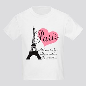 custom add text paris Kids Light T-Shirt