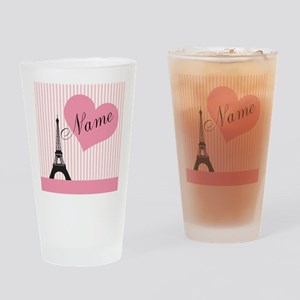 custom add text paris Drinking Glass