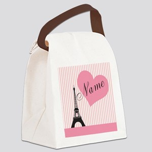 custom add text paris Canvas Lunch Bag