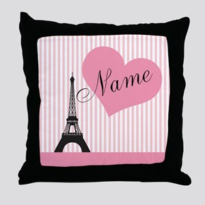 custom add text paris Throw Pillow