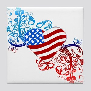July 4th Heart Scroll Tile Coaster