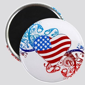 July 4th Heart Scroll Magnet