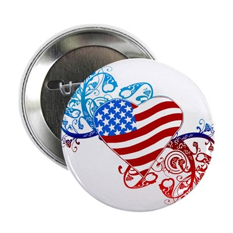 """July 4th Heart Scroll 2.25"""" Button (10 pack)"""