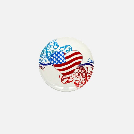 July 4th Heart Scroll Mini Button (10 pack)
