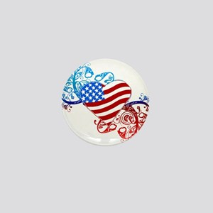 July 4th Heart Scroll Mini Button