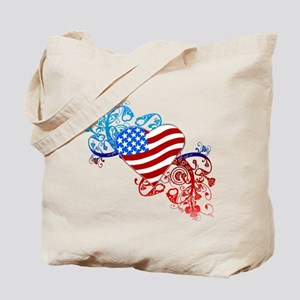 July 4th Heart Scroll Tote Bag