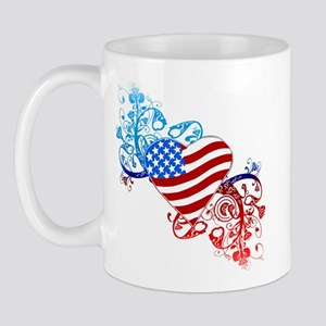 July 4th Heart Scroll Mug