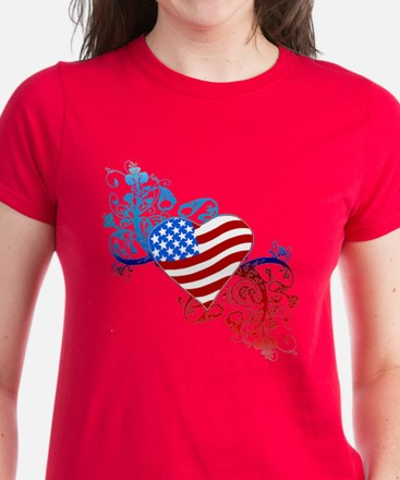 July 4th Heart Scroll Women's Dark T-Shirt