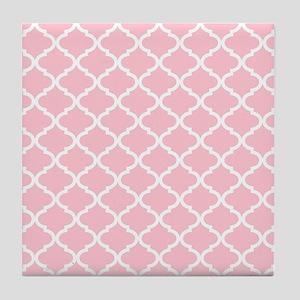 Pink White Quatrefoil Pattern Tile Coaster