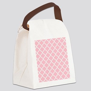 Pink White Quatrefoil Pattern Canvas Lunch Bag