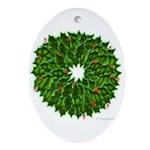 Christmas Holly Wreath Ornament (Oval)