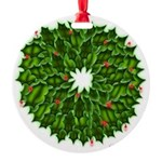 Christmas Holly Wreath Round Ornament