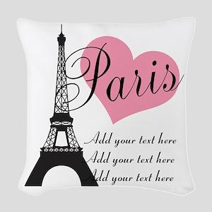 custom add text paris Woven Throw Pillow