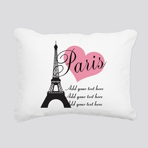 custom add text paris Rectangular Canvas Pillow