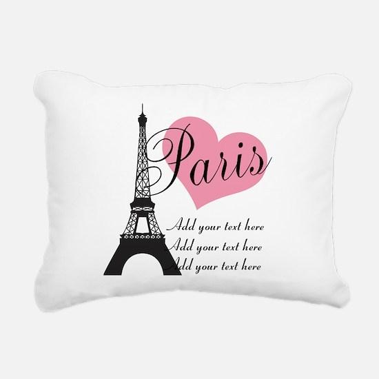 custom add text paris Rectangular Canvas Pillow