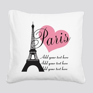 custom add text paris Square Canvas Pillow