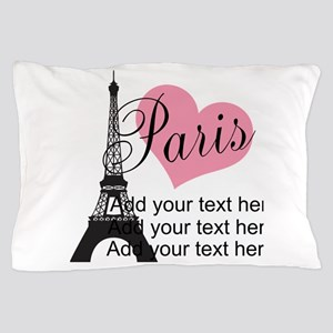 custom add text paris Pillow Case