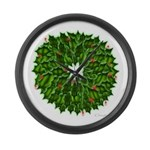 Christmas Holly Wreath Large Wall Clock