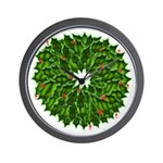 Christmas Holly Wreath Wall Clock