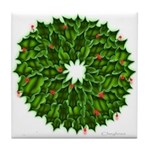 Christmas Holly Wreath Tile Coaster