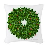 Christmas Holly Wreath Woven Throw Pillow