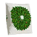 Christmas Holly Wreath Burlap Throw Pillow