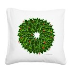 Christmas Holly Wreath Square Canvas Pillow