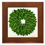 Christmas Holly Wreath Framed Tile