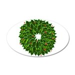 Christmas Holly Wreath 35x21 Oval Wall Decal