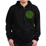 Christmas Holly Wreath Zip Hoodie (dark)