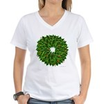 Christmas Holly Wreath Women's V-Neck T-Shirt