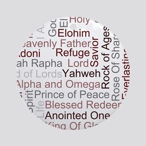 Names of God Word Art Ornament (Round)
