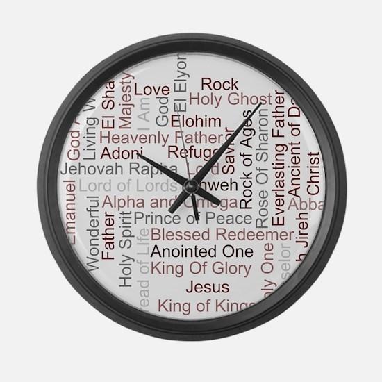 Names of God Word Art Large Wall Clock
