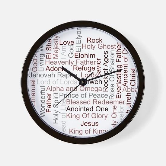 Names of God Word Art Wall Clock
