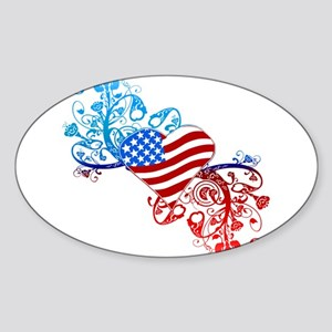 Independence Day Heart Scroll Oval Sticker