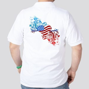 Independence Day Heart Scroll Golf Shirt